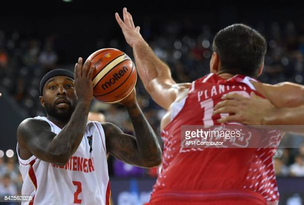 Tyrese Rice of Montenegro vies with Leni Ukic Roko of Croatia during the FIBA Eurobasket 2017 mens basketball match between Montenegro and Croatia in...