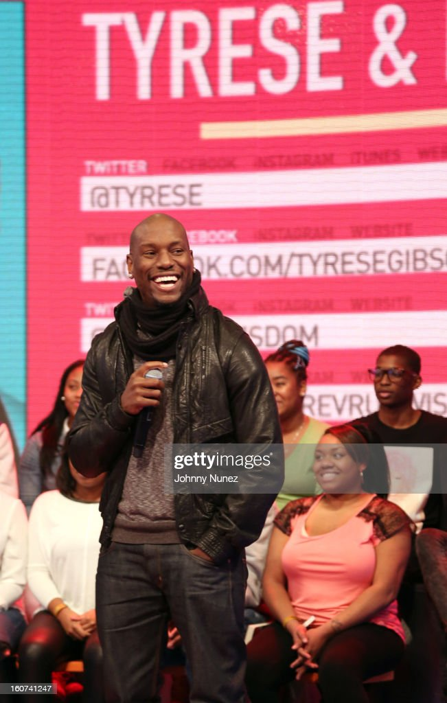 <a gi-track='captionPersonalityLinkClicked' href=/galleries/search?phrase=Tyrese&family=editorial&specificpeople=206177 ng-click='$event.stopPropagation()'>Tyrese</a> visits BET's '106 & Park' at 106 & Park Studio on February 4, 2013 in New York City.