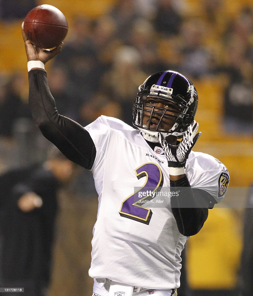 Tyrod Taylor #2 of the Baltimore Ravens drops back to pass against the Pittsburgh Steelers during the game on November 6, 2011 at Heinz Field in Pittsburgh, Pennsylvania.