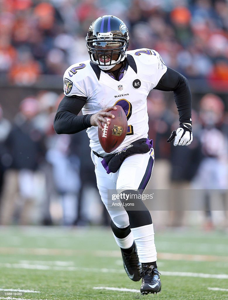 Tyrod Taylor #2 of the Baltimore Ravens runs with the ball during the NFL game against the Cincinnati Bengals at Paul Brown Stadium on December 30, 2012 in Cincinnati, Ohio.