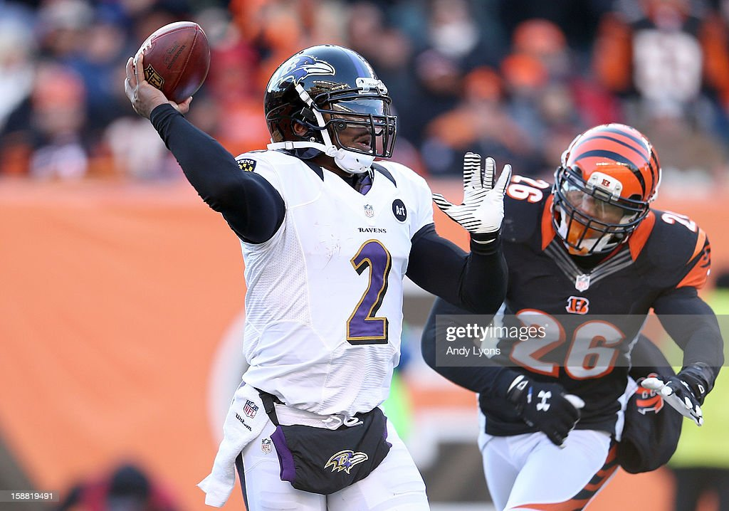 Tyrod Taylor #2 of the Baltimore Ravens throws a pass during the NFL game against the Cincinnati Bengals at Paul Brown Stadium on December 30, 2012 in Cincinnati, Ohio.