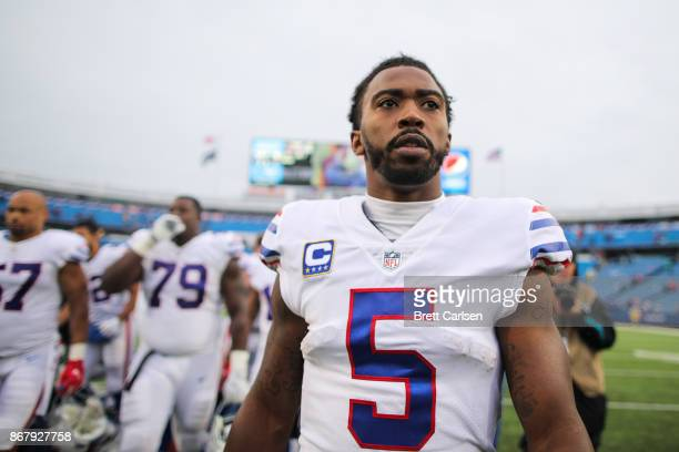 Tyrod Taylor of the Buffalo Bills after an NFL game against the Oakland Raiders on October 29 2017 at New Era Field in Orchard Park New York