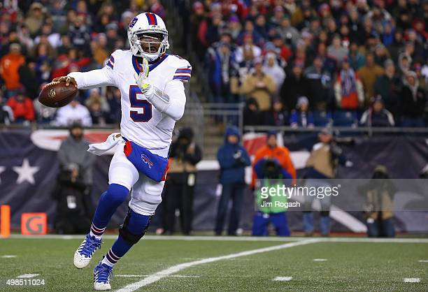 Tyrod Taylor of the Buffalo Bills carries the ball during the first quarter against the New England Patriots at Gillette Stadium on November 23 2015...