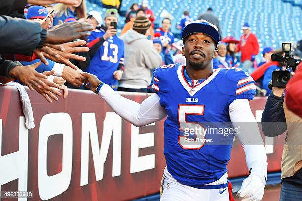 Tyrod Taylor of the Buffalo Bills celebrates with fans after beating the Miami Dolphins 3317 at Ralph Wilson Stadium on November 8 2015 in Orchard...