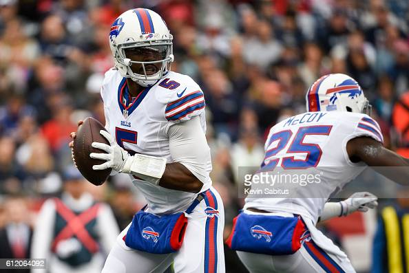 Tyrod Taylor of the Buffalo Bills drops back to pass in the first quarter against the New England Patriots at Gillette Stadium on October 2 2016 in...