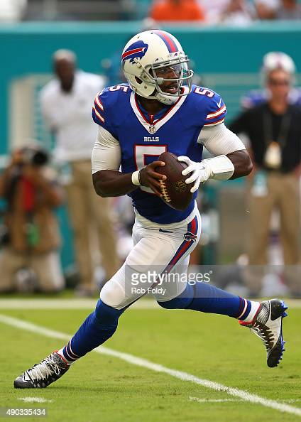 Tyrod Taylor of the Buffalo Bills in action during the first half of the game against the Miami Dolphinsat Sun Life Stadium on September 27 2015 in...