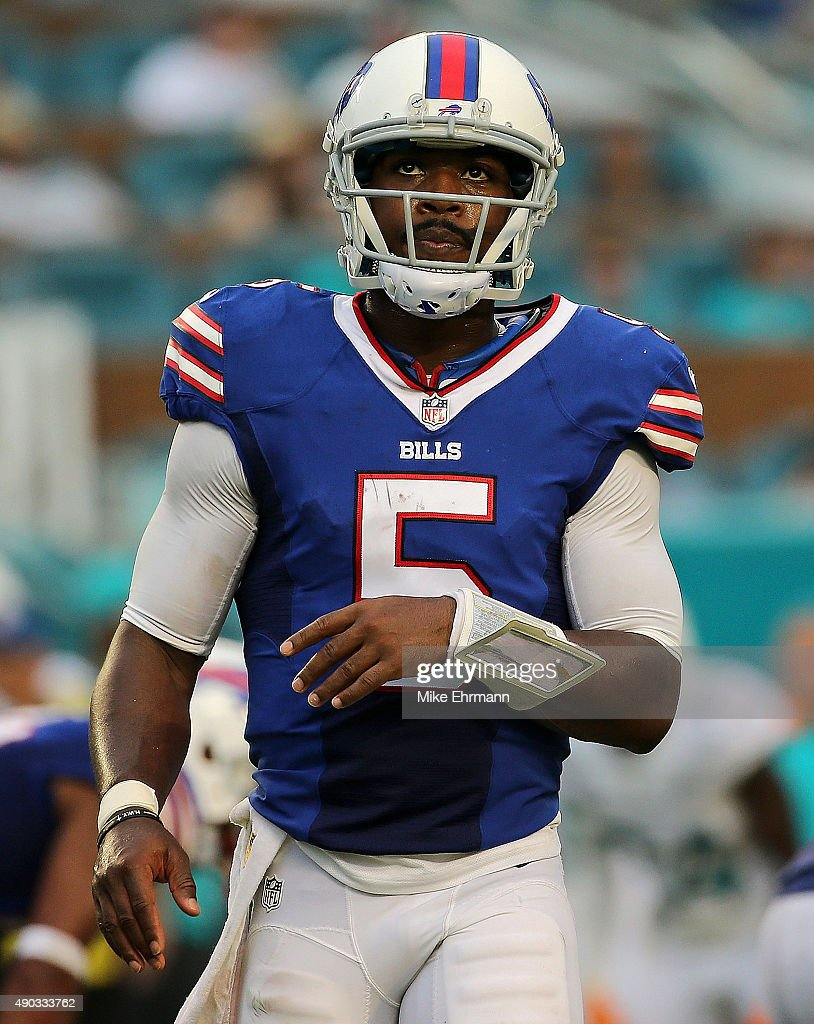 Tyrod Taylor of the Buffalo Bills looks on during a game against the Miami Dolphins at Sun Life Stadium on September 27 2015 in Miami Gardens Florida