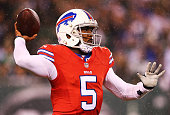 Tyrod Taylor of the Buffalo Bills looks to pass against the New York Jets during the first quarter at MetLife Stadium on November 12 2015 in East...