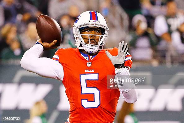 Tyrod Taylor of the Buffalo Bills looks to pass against the New York Jets during the third quarter at MetLife Stadium on November 12 2015 in East...