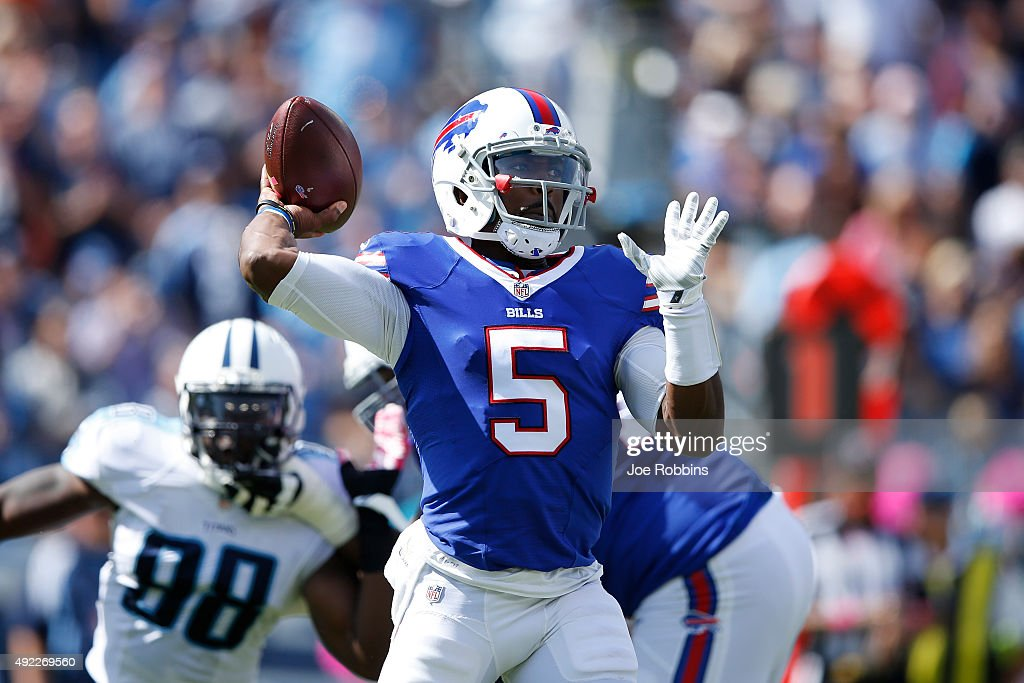 Tyrod Taylor of the Buffalo Bills looks to pass in the first half of the game against the Tennessee Titans at Nissan Stadium on October 11 2015 in...