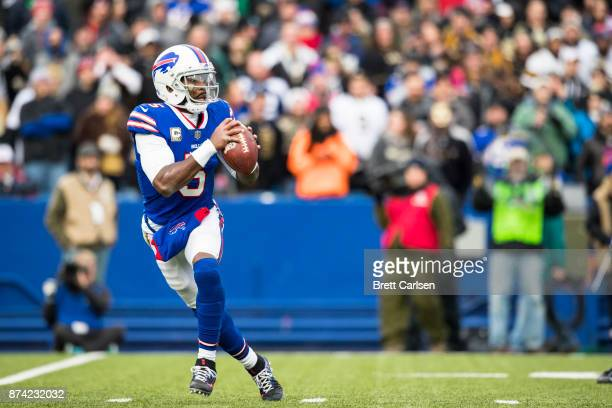 Tyrod Taylor of the Buffalo Bills moves in the pocket during the third quarter against the New Orleans Saints at New Era Field on November 12 2017 in...