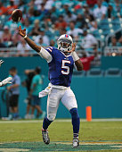 Tyrod Taylor of the Buffalo Bills passes during a game against the Miami Dolphins at Sun Life Stadium on September 27 2015 in Miami Gardens Florida