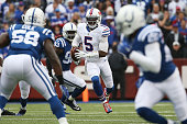 Tyrod Taylor of the Buffalo Bills runs against the Indianapolis Colts during the first half at Ralph Wilson Stadium on September 13 2015 in Orchard...