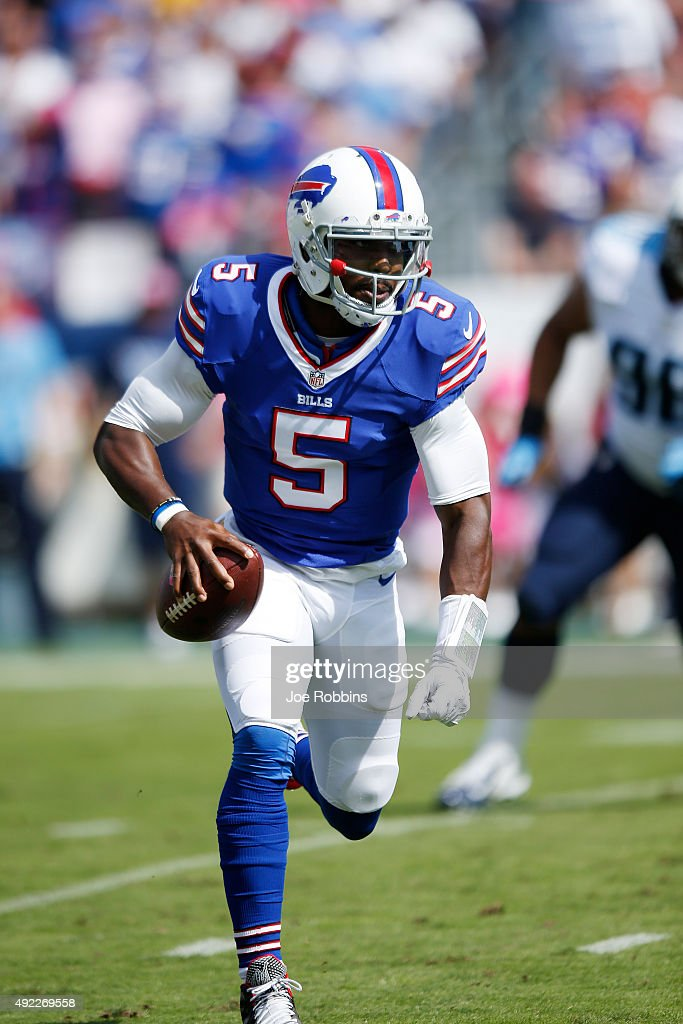 Tyrod Taylor of the Buffalo Bills runs the ball in the first half of the game against the Tennessee Titans at Nissan Stadium on October 11 2015 in...