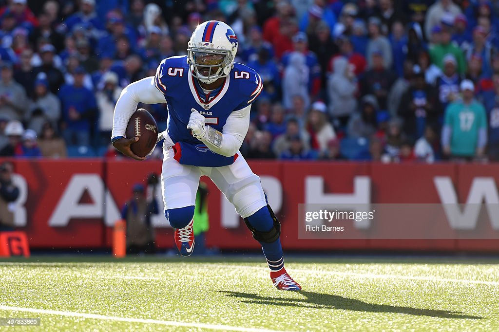 Tyrod Taylor of the Buffalo Bills runs with the ball against the Miami Dolphins during the second quarter at Ralph Wilson Stadium on November 8 2015...