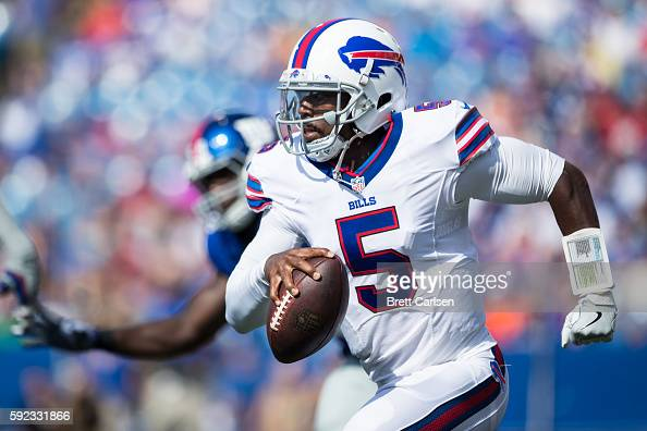 Tyrod Taylor of the Buffalo Bills scrambles with the ball during the first quarter against the New York Giants on August 20 2016 at New Era Field in...