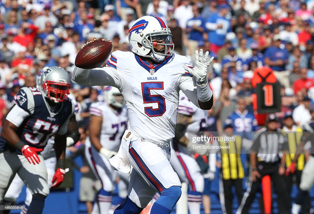 Tyrod Taylor of the Buffalo Bills throws during NFL game action against the New England Patriots at Ralph Wilson Stadium on September 20 2015 in...
