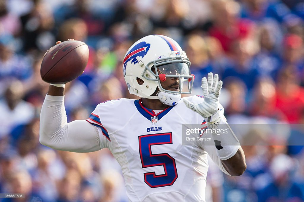 Tyrod Taylor of the Buffalo Bills throws the ball during a preseason game against the Pittsburgh Steelers on August 29 2015 at Ralph Wilson Stadium...