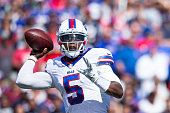Tyrod Taylor of the Buffalo Bills throws the ball during the first half against the New England Patriots on September 20 2015 at Ralph Wilson Stadium...