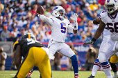 Tyrod Taylor of the Buffalo Bills throws the ball during the second half of a preseason game against the Pittsburgh Steelers on August 29 2015 at...