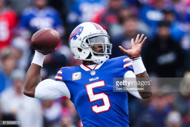 Tyrod Taylor of the Buffalo Bills throws the ball during the second quarter against the New Orleans Saints on November 12 2017 at New Era Field in...
