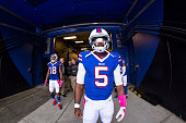Tyrod Taylor of the Buffalo Bills waits for his name to be called before the game against the New York Giants on October 4 2015 at Ralph Wilson...