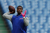 Tyrod Taylor of the Buffalo Bills warms up before game against the New York Giants at Ralph Wilson Stadium on October 4 2015 in Orchard Park New York