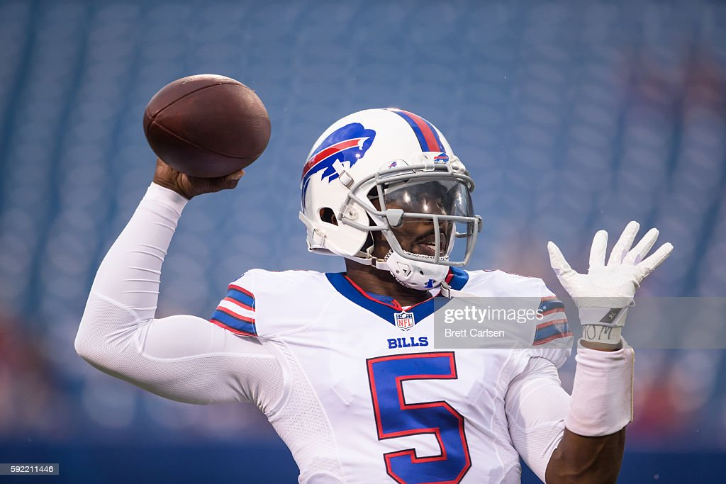Tyrod Taylor of the Buffalo Bills warms up before the game against the Indianapolis Colts on August 13 2016 at Ralph Wilson Stadium in Orchard Park...