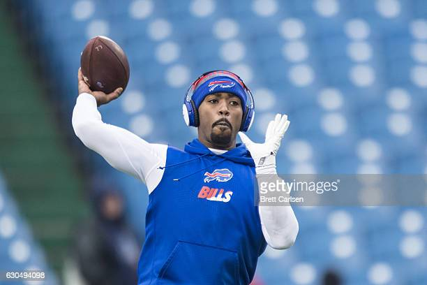Tyrod Taylor of the Buffalo Bills warms up before the game against the Miami Dolphins on December 24 2016 at New Era Field in Orchard Park New York