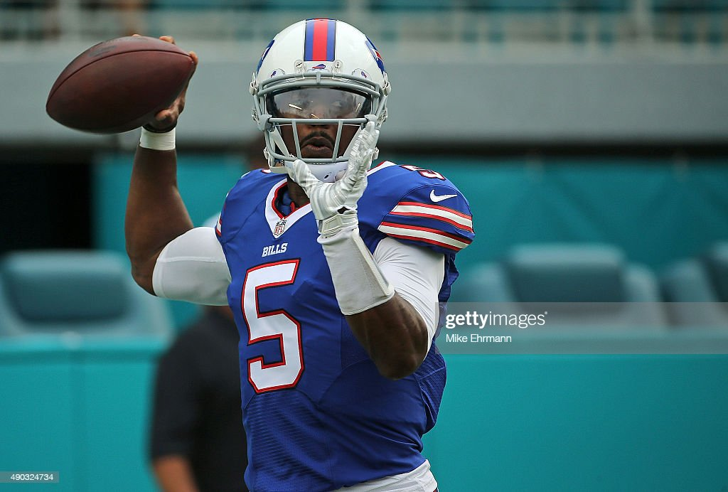 Tyrod Taylor of the Buffalo Bills warms up during a game against the Miami Dolphins at Sun Life Stadium on September 27 2015 in Miami Gardens Florida
