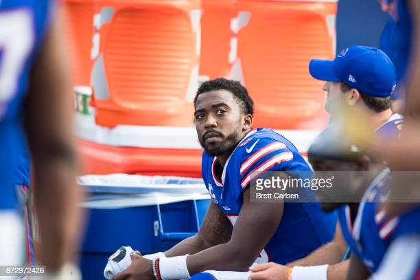 Tyrod Taylor of the Buffalo Bills watches game action on the scoreboard during the game against the Tampa Bay Buccaneers at New Era Field on October...