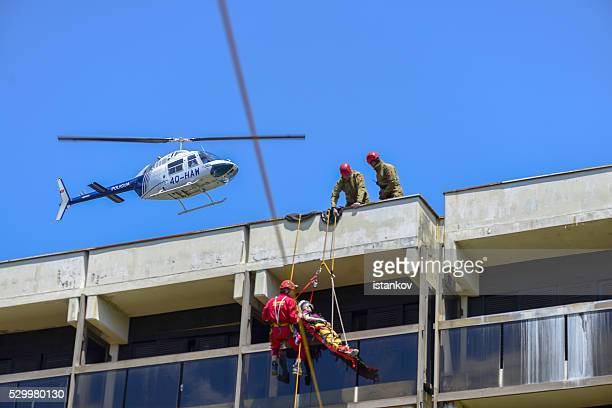 Tyrolean traverse Rescue.  Medvac / Medivac helicopter. Excersise demonstration