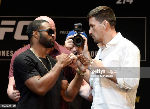 Tyron Woodley and Demian Maia face off during the UFC 214 Press Conference at The Novo by Microsoft July 26 in Los Angeles California