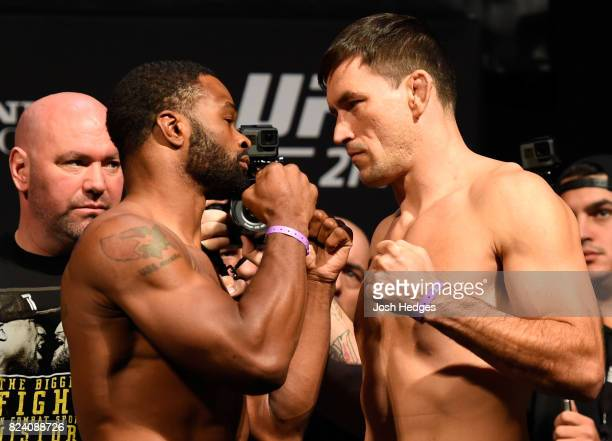 Tyron Woodley and Demian Maia of Brazil face off during the UFC 214 weighin inside the Honda Center on July 28 2017 in Anaheim California