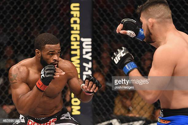 Tyron Woodley faces off against Tyron Woodley in their welterweight bout during the UFC 183 event at the MGM Grand Garden Arena on January 31 2015 in...