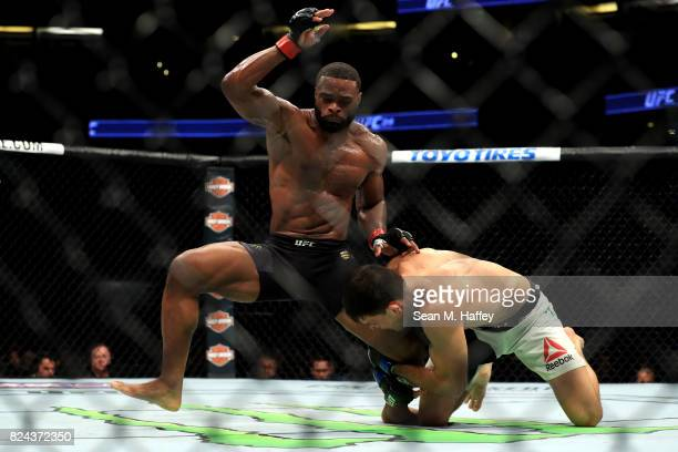Tyron Woodley fights Demian Maia of Brazil in the Welterweight title bout during UFC 214 at Honda Center on July 29 2017 in Anaheim California