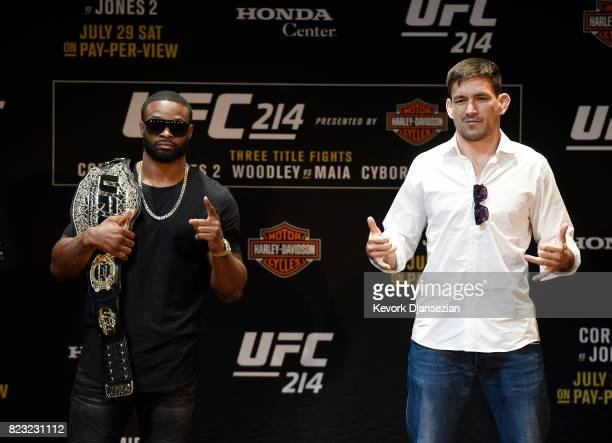 Tyron Woodley holding the UFC belt and Demian Maia pose after they faced ogg following a UFC 214 Press Conference at The Novo by Microsoft July 26 in...