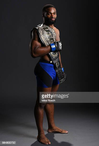 Tyron Woodley poses for a post fight portrait backstage during the UFC 201 event on July 30 2016 at Philips Arena in Atlanta Georgia
