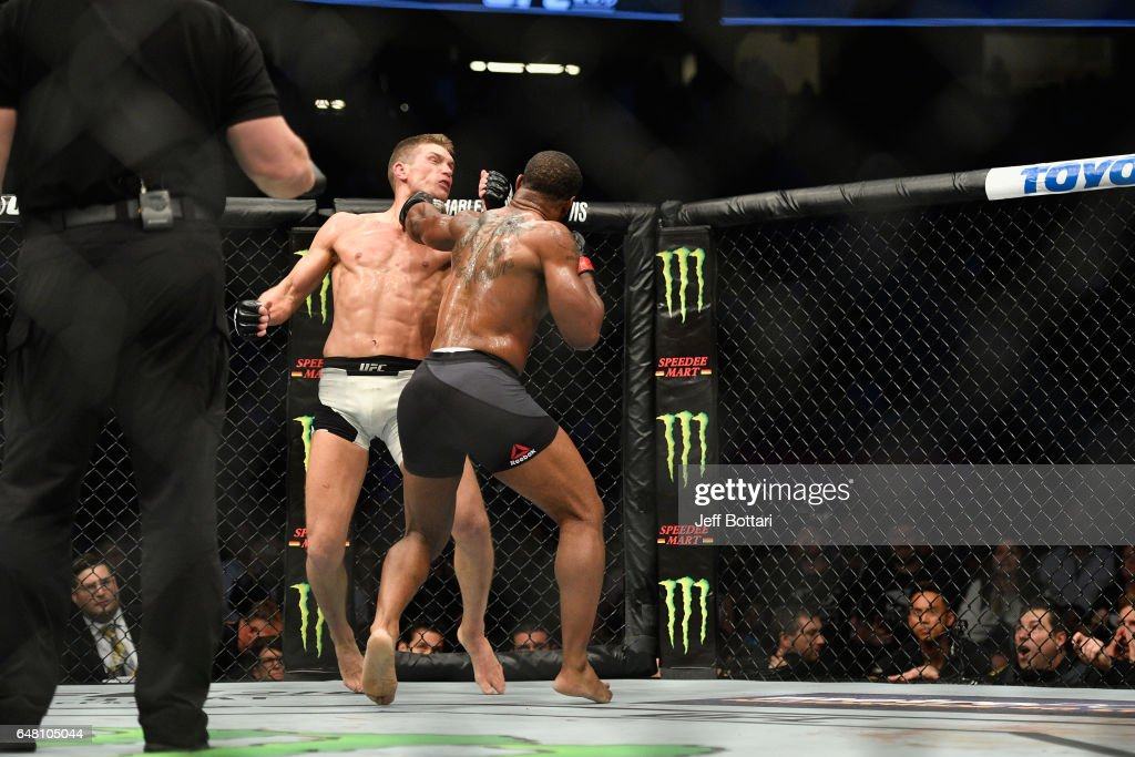 Tyron Woodley punches Stephen Thompson in their UFC welterweight championship bout during the UFC 209 event at T-Mobile Arena on March 4, 2017 in Las Vegas, Nevada.