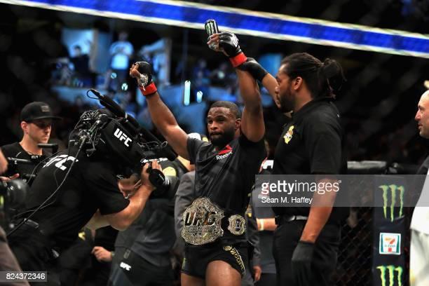Tyron Woodley reacts to defeating Demian Maia of Brazil in the Welterweight title bout during UFC 214 at Honda Center on July 29 2017 in Anaheim...