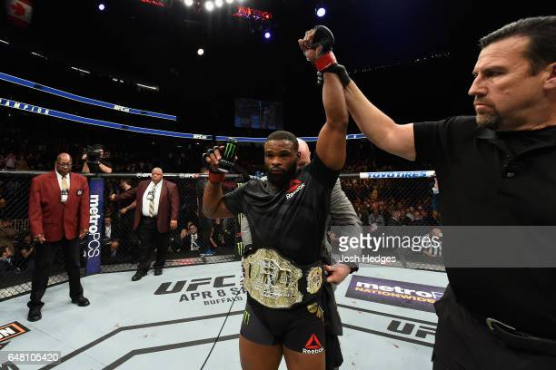 Tyron Woodley reacts to his victory over Stephen Thompson in their UFC welterweight championship bout during the UFC 209 event at TMobile Arena on...