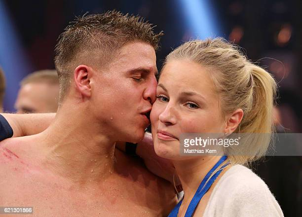 Tyron Zeuge kisses his girlfriend after winning the WBA Super Middleweight World Championship title fight between Tyron Zeuge and Giovanni De Carolis...