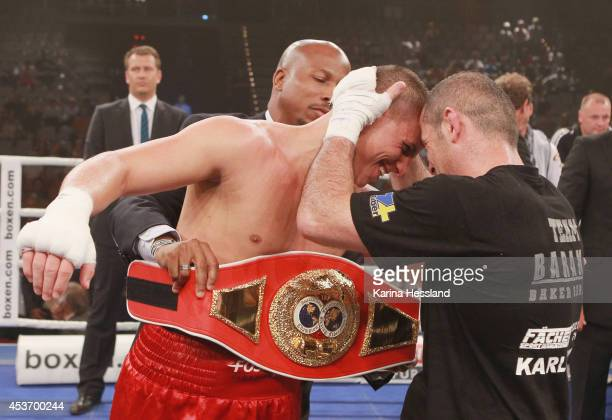 Tyron Zeuge of Germany celebrates winning the IBF International Super Middleweight Championship title fight against Baker Barakat of Germany at...