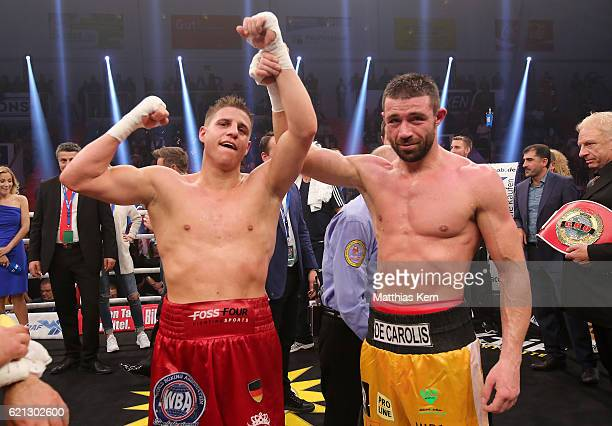 Tyron Zeuge of Germany shows his delight after winning the WBA Super Middleweight World Championship title fight between Tyron Zeuge and Giovanni De...