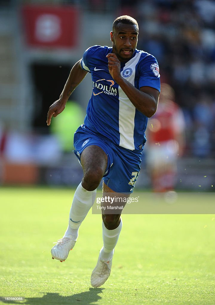 Tyrone Barnett of Peterborough United during the Sky Bet League One match between Rotherham United and Peterborough United at The New York Stadium on September 28, 2013 in Rotherham, England.