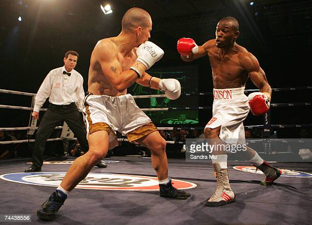 Tyrone Brunson looks to hit Jamie Waru with a left uppercut during their Dodge Fight Night bout at the Sky City Convention Centre June 8 2007 in...