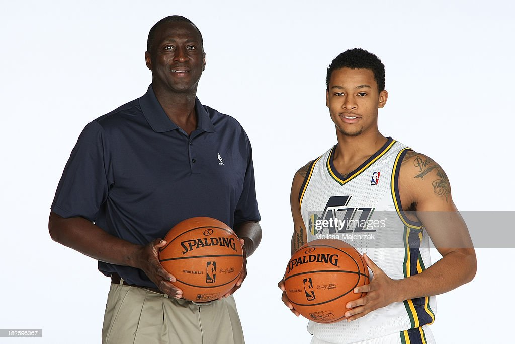 Tyrone Corbin Head Coach and Trey Burke #3 of the Utah Jazz pose for a photo during 2013 Media Day at Zions Basketball Center on September 30, 2013 in Salt Lake City, Utah.