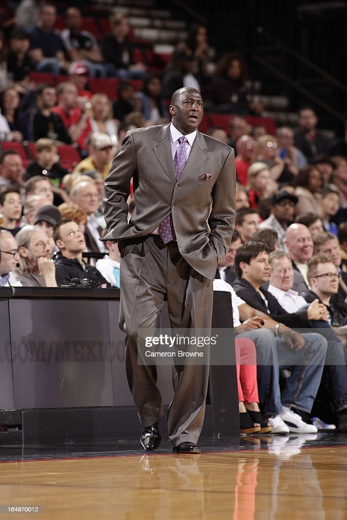 <a gi-track='captionPersonalityLinkClicked' href=/galleries/search?phrase=Tyrone+Corbin&family=editorial&specificpeople=829288 ng-click='$event.stopPropagation()'>Tyrone Corbin</a>, Head Coach of the Utah Jazz, looks on during the game against the Portland Trail Blazers on March 29, 2013 at the Rose Garden Arena in Portland, Oregon.