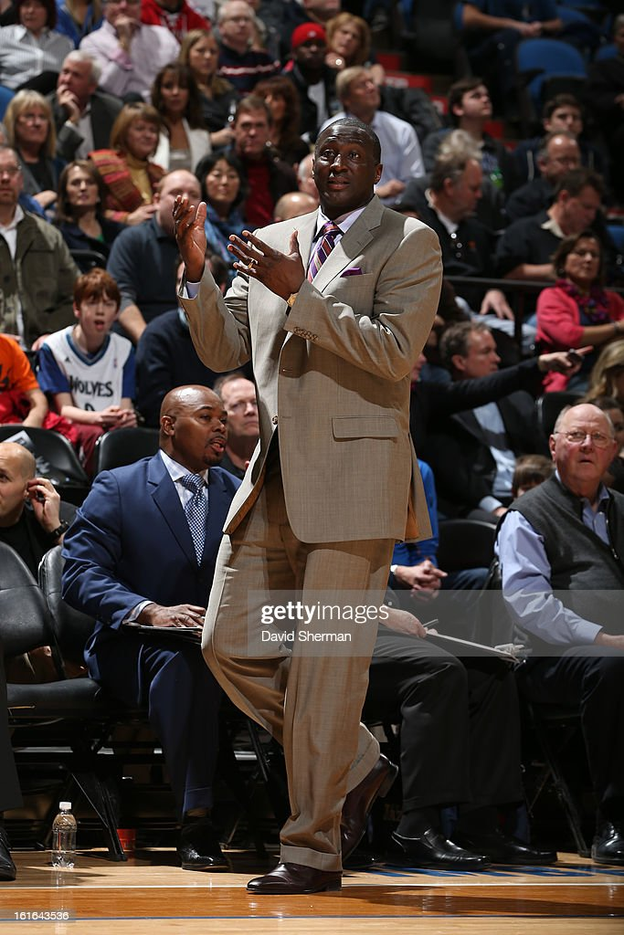 Tyrone Corbin, Head Coach of the Utah Jazz, reacts during the game against the Minnesota Timberwolves on February 13, 2013 at Target Center in Minneapolis, Minnesota.
