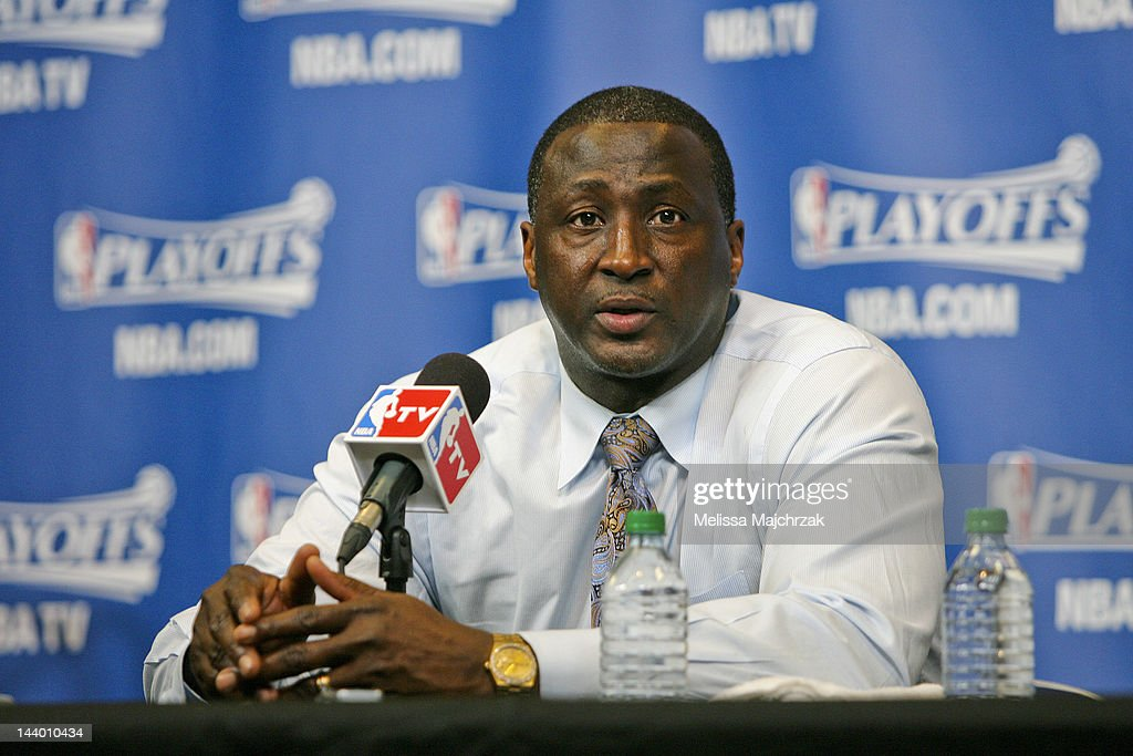 <a gi-track='captionPersonalityLinkClicked' href=/galleries/search?phrase=Tyrone+Corbin&family=editorial&specificpeople=829288 ng-click='$event.stopPropagation()'>Tyrone Corbin</a>, head coach of the Utah Jazz, speaks after his team's loss to the San Antonio Spurs in Game Four of the Western Conference Quarterfinals during the 2012 NBA Playoffs at Energy Solutions Arena on May 7, 2012 in Salt Lake City, Utah.